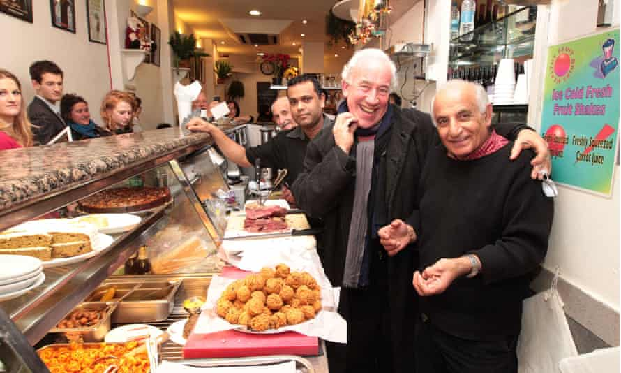 Actor Simon Callow with Gaby Elyahou, proprietor of Gaby's Deli.