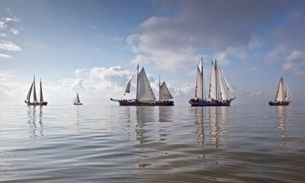 Traditional boats in the Klipperrace on the IJsselmeer