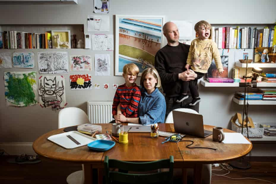 Brunswick parents Lucy Morieson and Evet Jean struggle to juggle working from home amid the chaos of home schooling their two sons - Atlas, 5, and Raphael,3.