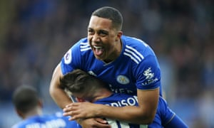 Youri Tielemans celebrates with James Maddison after scoring to make it 1-0 against Arsenal in April 2019.