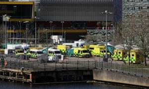 Ambulances outside NHS Nightingale hospital in London