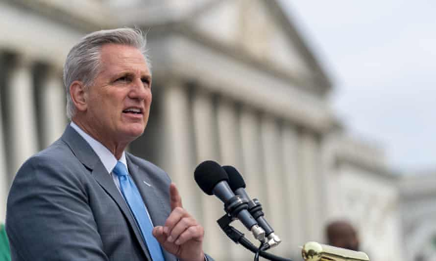 Kevin McCarthy, the House minority leader, speaks on the steps of the US Capitol on 29 July. He pulled all five of his picks from the House select committee.