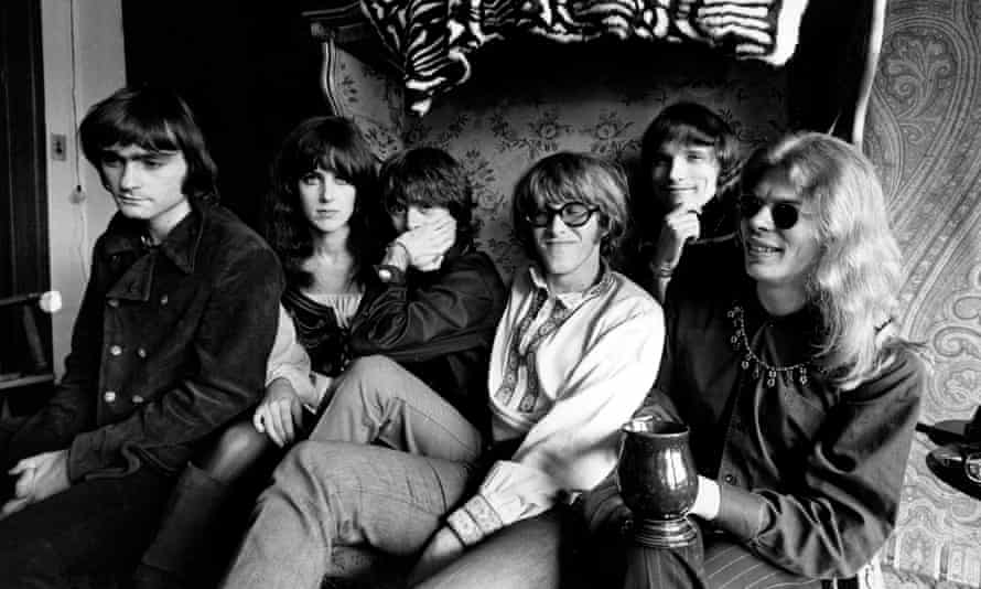 Paul Kantner, fourth from left, in 1968 with Jefferson Airplane members, from left, Marty Balin, Grace Slick, Spencer Dryden, Jorma Kaukonen and Jack Casady.