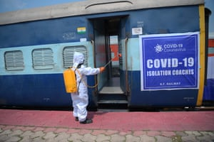 A train carriage converted into an isolation room for Covid-19 patients in Agartala, India.