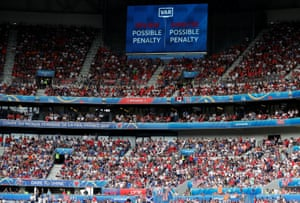 General view of the big screen during the VAR review.