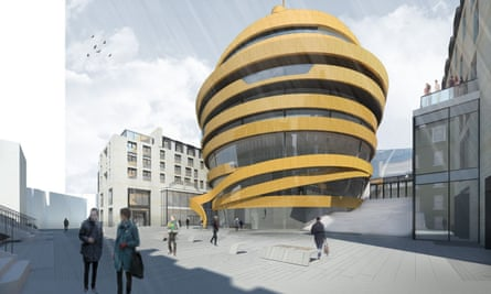 A computer image of the controversial new hotel on the St James development