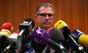 Lufthansa group CEO Carsten Spohr briefs the media in Barcelona.