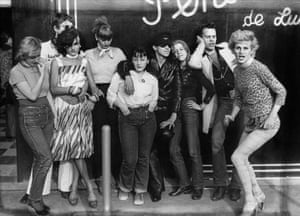 Members of the Gazolines group in front of the shop Pendora de Luxe in Les Halles, 1975