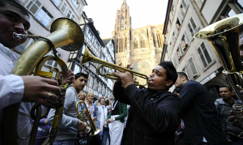 A band performs on the streets of Strasbourg, France at the annual music event