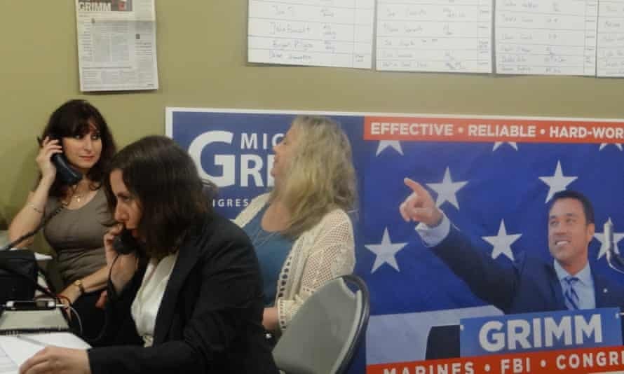 Volunteers hit the phones for Grimm at his campaign headquarters.