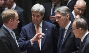 Delegates at the UN security council meeting on Friday, from left: Matthew Rycroft, John Kerry, Philip Hammond and Ban Ki-moon.