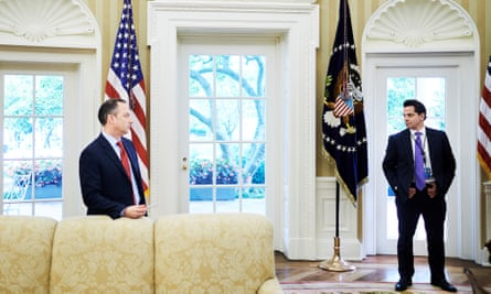 Reince Priebus and Anthony Scaramucci in the Oval Office.