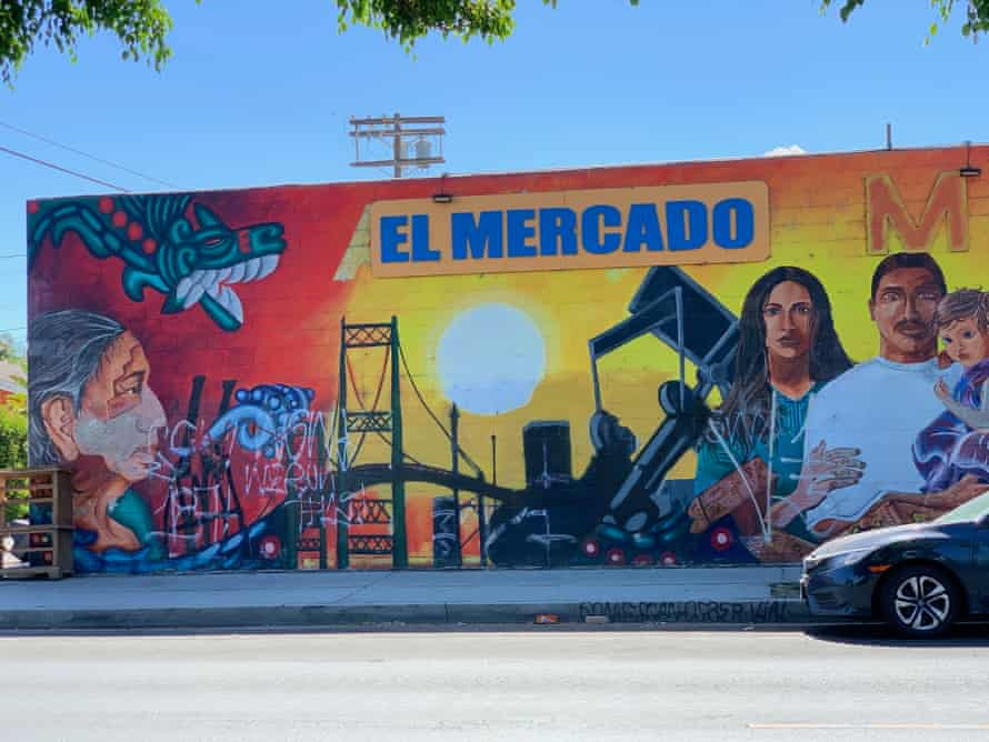 Oil drilling permeates the Los Angeles neighborhood of Wilmington, even appearing in a neighborhood mural.