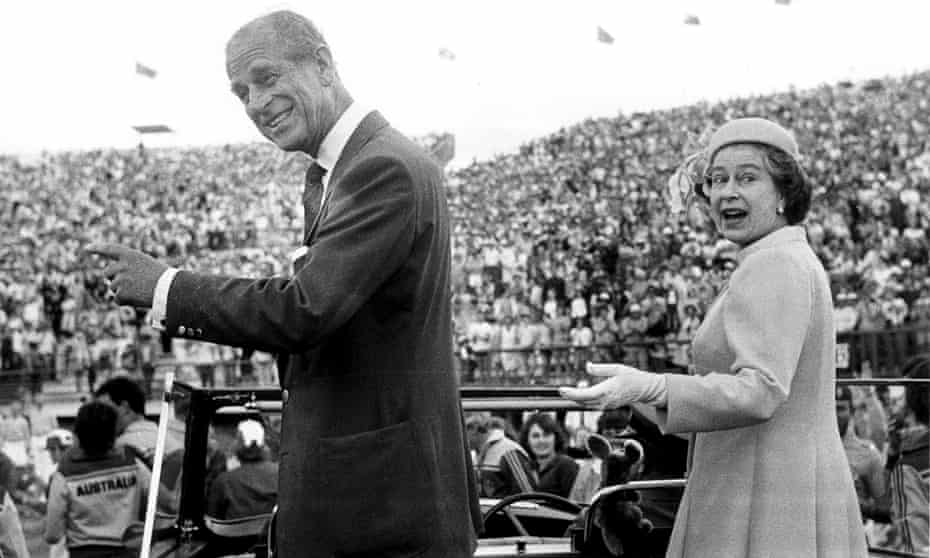 The Queen and the Duke of Edinburgh at the closing ceremony of the 1982 Commonwealth Games in Brisbane.