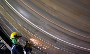 Work is carried out on a section of a wind turbine at a plant in Billingham, County Durham