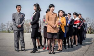 Visitors wait to see the official birthplace of North Korea's founding leader Kim Il-sung at Mangyongdae, just outside the capital. For North Koreans, it is a site of pilgrimage. Pyongyang, North Korea.