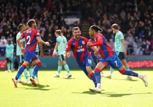 Palace team-mates congratulate the young substitute.