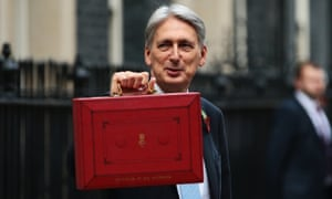 The chancellor, Philip Hammond, presents the red budget box as he departs 11 Downing Street to deliver his 2018 budget.