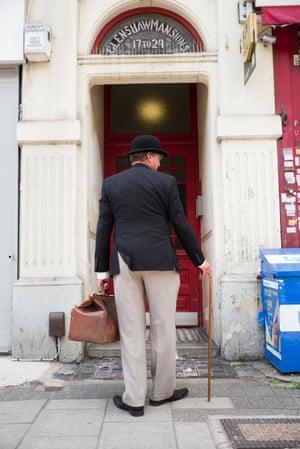 Christer Jonsson outside Chaplin's flat.