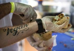 Cook prepares wheat-based shawarma