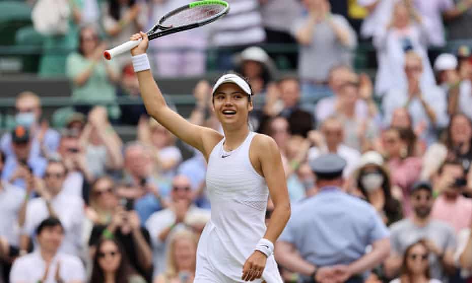 Emma Raducanu celebrates her third-round win over Sorana Cirstea at Wimbledon