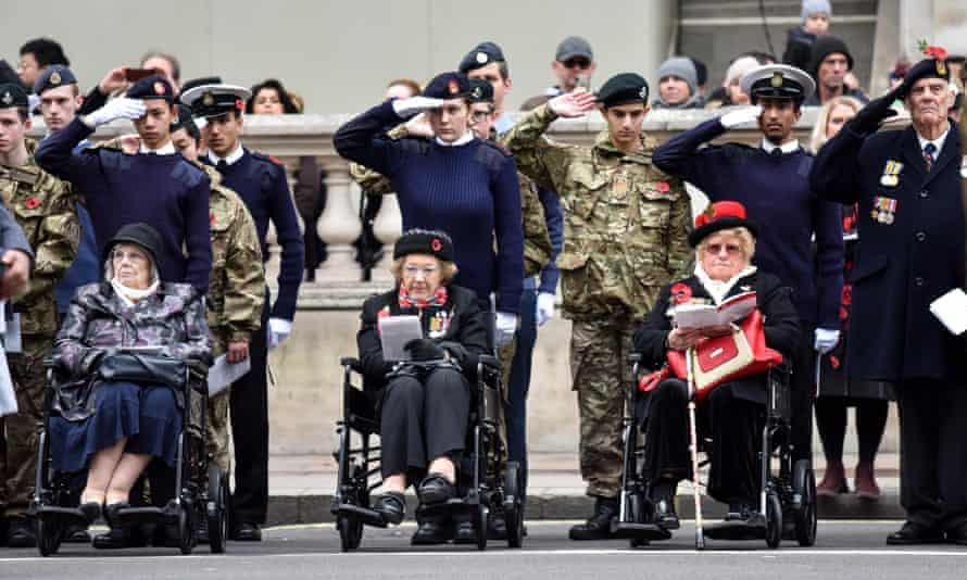 The War Widows Association Remembrance parade at the Cenotaph in Whitehall, London, on Saturday.
