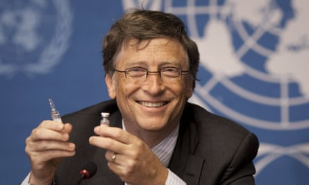 Bill Gates at the UN in 2011 with a meningitis vaccine his foundation helped fund. The jab has slashed rates of the disease in Africa, which has a 50% fatality rate