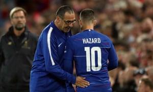 Eden Hazard and Maurizio Sarri