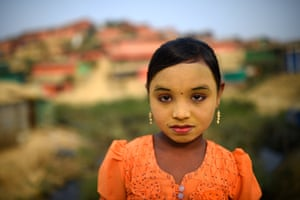 """Zannat Ara, aged 9. """"I wear make up to keep my face clean and there are some insects that bite my face and this keeps them away, so this protects me."""" said Zannat."""