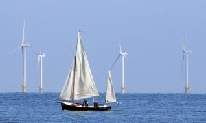 A sailing boat passes the Kentish Flats offshore windfarm.