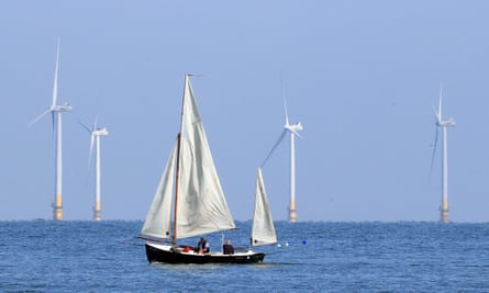 A sailing boat passes the Kentish Flats offshore windfarm.