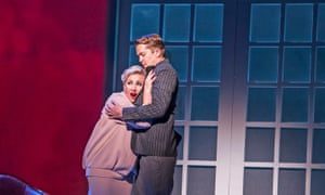 Sasha Cooke (Marnie) and Daniel Okulitch (Mark Rutland) in ENO's production of Marnie by Nico Muhly at the London Coliseum.