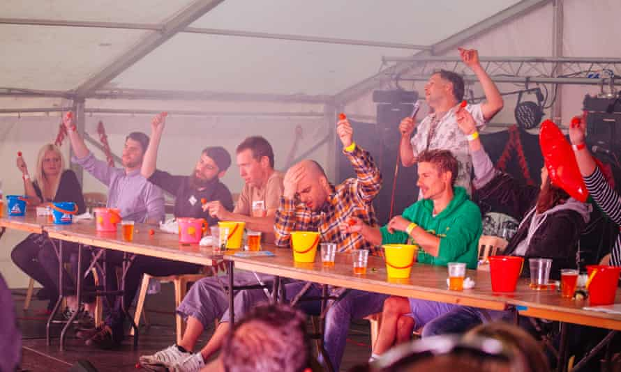 Chilli-eating contest at Brighton's Fiery Food festival.