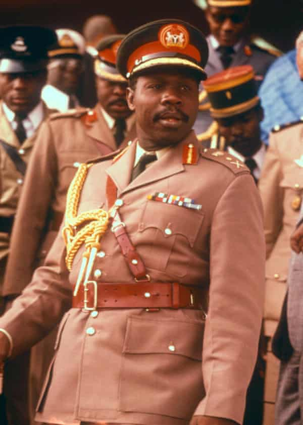 Olusegun Obasanjo, pictured here when he was a general in 1977, has surprised observers by back Atiku for the presidency.