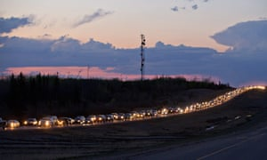 Huge tailbacks during Canadian wildfires