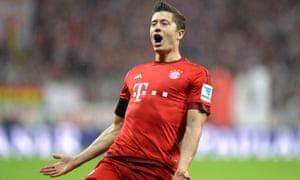 """""""Bayern Munich's Robert Lewandowski celebrates his hat-trick against Wolfsburg, but there was more to come."""""""