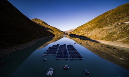 Solar panels on the Lac des Toules reservoir in Switzerland.