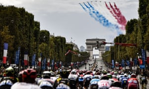 French national air display team Patrouille de France fly over the peloton as the final stage comes to a close.