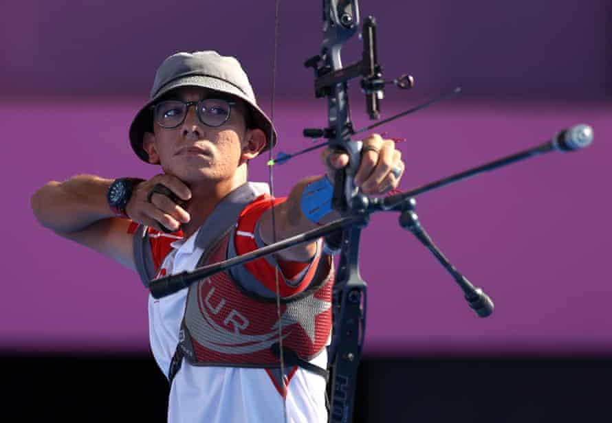 Mete Gazoz competes in the individual men's archery.