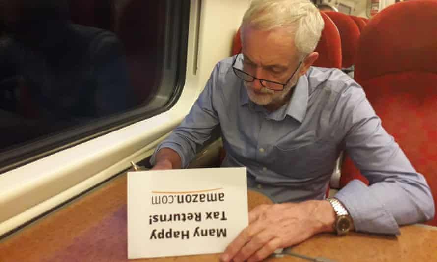 Jeremy Corbyn writing 25th birthday card to Amazon.
