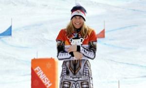 Gold medal winner Ester Ledecka celebrates after the women's parallel giant slalom.