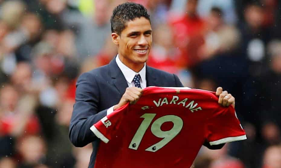 Raphaël Varane is presented to Manchester United fans before the match against Leeds