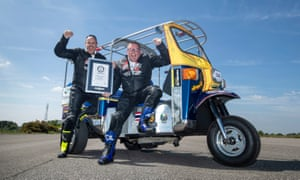 Matt Everard (right) and passenger Russell Shearman celebrate their new world record.
