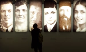 Portraits inside the Holocaust memorial in Berlin