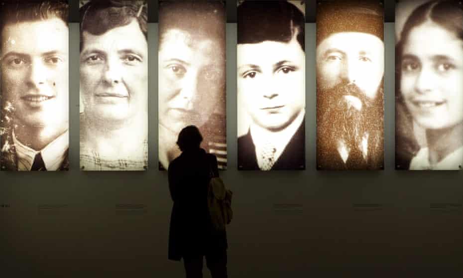 Portraits inside the Holocaust memorial in Berlin