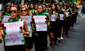 Women protest femicide in Buenos Aires, Argentina on International Women's Day.