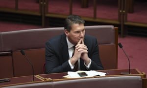 Senator Cory Bernardi reacts during debate on the Government's income tax package plan in the Senate at Parliament House in Canberra, Thursday, 4 July, 2019. Senator Jacqui Lambie has has thrown her support behind the federal government's income tax cuts, guaranteeing the $158bn package will become law. (AAP Image/Lukas Coch)
