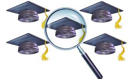 A mortar board hat and a magnifying glass