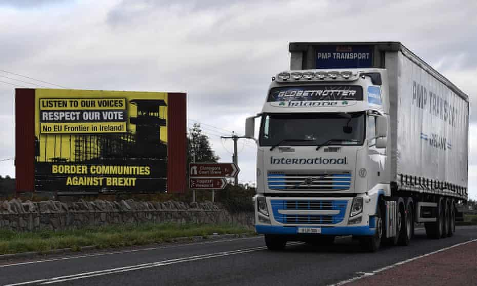 A lorry crosses the border in Newry, Northern Ireland