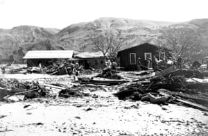 The St Francis Dam flood in Santa Paula, California, in 1928.